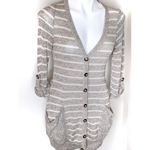 🌿 Taupe White Striped Long Cardigan Button Down